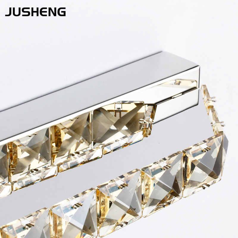JUSHENG 14 W Kristal Banyo LED Ayna Ön Işıklar Şampanya ve Şeffaf Kristal Kapalı Aplik Aydınlatma 110 V/220 V AC