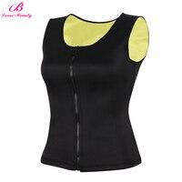 Lover Beauty New Sauna Vest Suit Zipper Front Neoprene Waist Trainer Top Sweat Slimming Shirt For