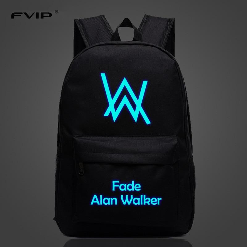 FVIP Music DJ Comedy Alan Walker Faded Backpack High Quality School Bag Travel Bags For Men Women