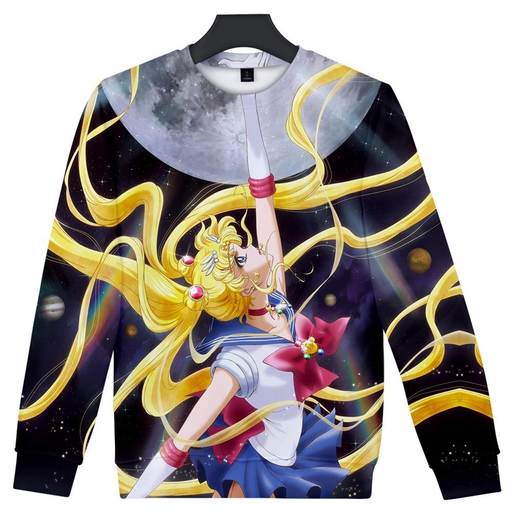 2019 NEW 3D print Japan Anime girl Sailor Moon Kawaii Round neck sweatshirt Men Women Casual Harajuku O neck Clothes in Hoodies amp Sweatshirts from Men 39 s Clothing