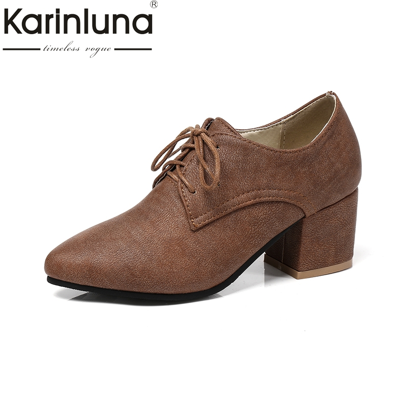 Karinluna 2018 Big Size 32-45 Women Pumps Lace Up Square High Heels Lace Up Pointed Toe Party Shoes Wrapped Pumps big size 11 12 elegant round toe lace up casual square heel women s shoes high heels pumps woman for women