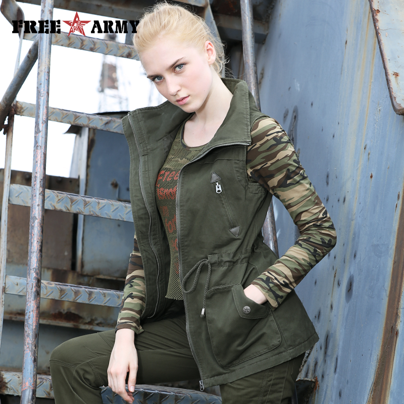 46d72cc9420056 Detail Feedback Questions about Brand Military Style Autumn Women Denim Vest  Coat Army Green Drawstring Vests Jacket Zippers Female Sleeveless Outerwear  ...