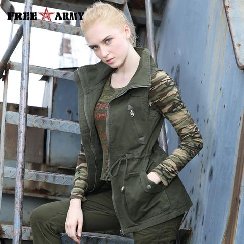 Militar da Marca Feminino sem Mangas Estilo Outono Mulheres Denim Colete Cabolsa Exército Verde Drawstring Coletes Jaqueta Zíperes Outerwear & Coats
