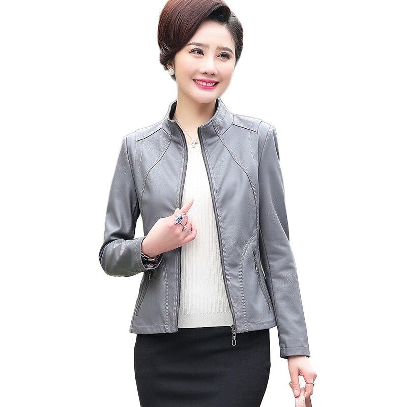 efee708038 Nouvelle Noir Moyen Base De Européenne Pu Outwear gris Moto Streetwear Mère  Veste Mode Slim Décontracté pourpre Femmes Cuir ...