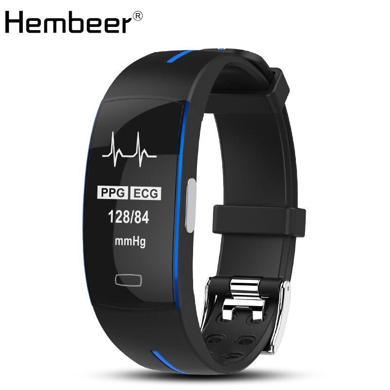 Hembeer P3 Bande À Puce ECG Moniteur Montre de La Pression Artérielle en temps Réel de Fréquence Cardiaque Sport Fitness Tracker Bracelet À Puce pour IOS Android