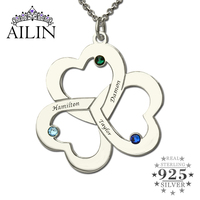 Wholesale Triple Heart Name Necklace Silver Engraved Birthstone Mother Necklace Our Hearts Together Love Mother Jewelry