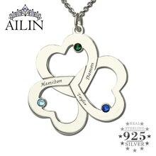 Comercio al por mayor Triple Corazón de Plata Collar Nombre Grabado Birthstone Joyería Madre Collar de Nuestros Corazones El Amor de Madre