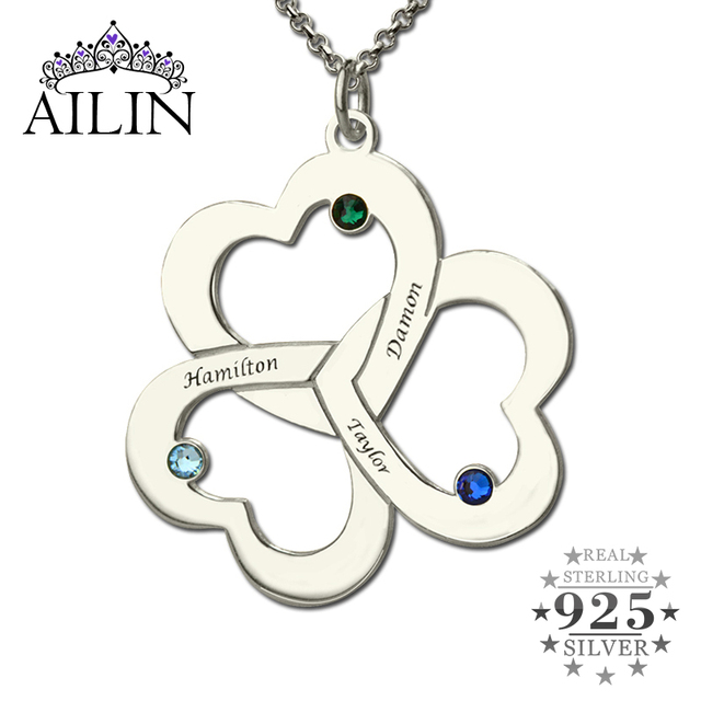 1fc6ff1d4 Wholesale Triple Heart Name Necklace Silver Engraved Birthstone Mother  Necklace Our Hearts Together Love Mother Jewelry