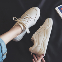 Women White Shoes Female Autumn Spring 2019 New Lady Casual Sneakers Leisure Shoes Solid Color Thick Bottom Lace Up Beige 35 40