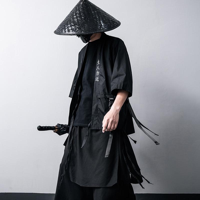 Harajuku Open Stitch Jacket Men Hip Hop Thin Coats Ribbons Japanese kimono Seven-cent sleeve chaqueta hombre Streetwear(China)