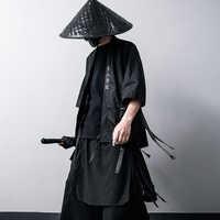 Harajuku Open Stitch Jacket Men Hip Hop Thin Coats Ribbons Japanese kimono Seven-cent sleeve chaqueta hombre Streetwear