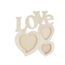 1Pc DIY Home Wider Hollow Love Wooden Photo Frame Picture Frame Art Decor White Base Drop Shipping(China)