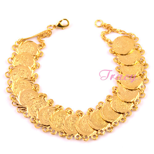15mm Mens Womens 24K Yellow Gold Plated Link Chain Coin Bracelet