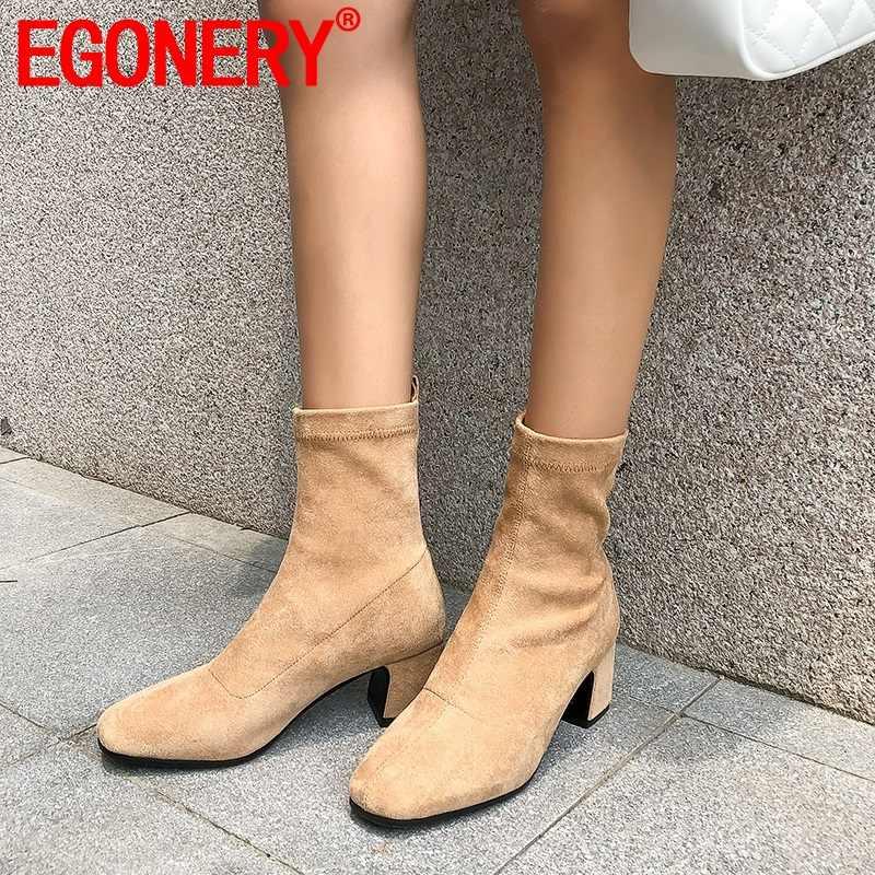 EGONERY người phụ nữ Boot 2019 mới vuông thời trang mũi 5 cm gót giày nữ Plus size 34-42 Đầm công sở đảng trơn trượt trên giày