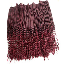 "20"" 5Packs Pervado Hair Faux Locs Curly Crochet Braiding Hair Extensions Synthetic 1b/Burg Mix Ombre Soft Lock Haar Cabelo Pelo(China)"