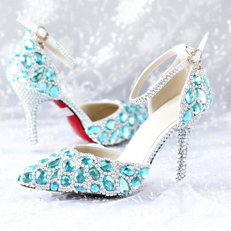 2017 Fashion Women Pumps Blue Diamond Wedding Shoes High