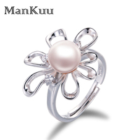 ManKuu Sunflower Pearl Ring Hollow Petal Delicate 8 9mm White Round Pearl 925 Sterling Silver Material Adjustable Ring For Women
