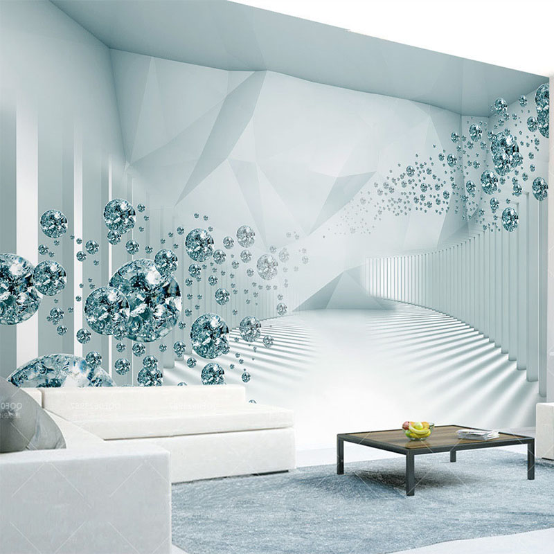 Custom Any Size Mural Wallpaper Modern 3D Stereoscopic Space Fashion Crystal Ball Photo Wall Painting Living Room Sofa 3D Fresco