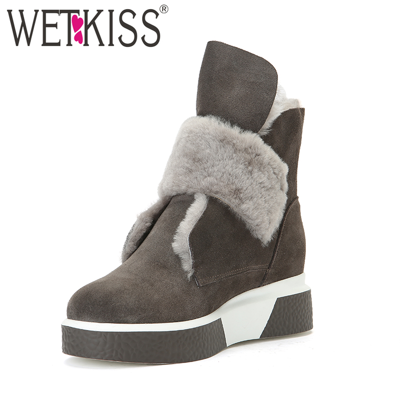 WETKISS 2018 Warm Winter Shoes Women Cow Suede Leather Wool Liner Snow Boots Wedges Platform Boots Fur Shoes Woman Fashion zorssar 2017 new classic winter plush women boots suede ankle snow boots female warm fur women shoes wedges platform boots