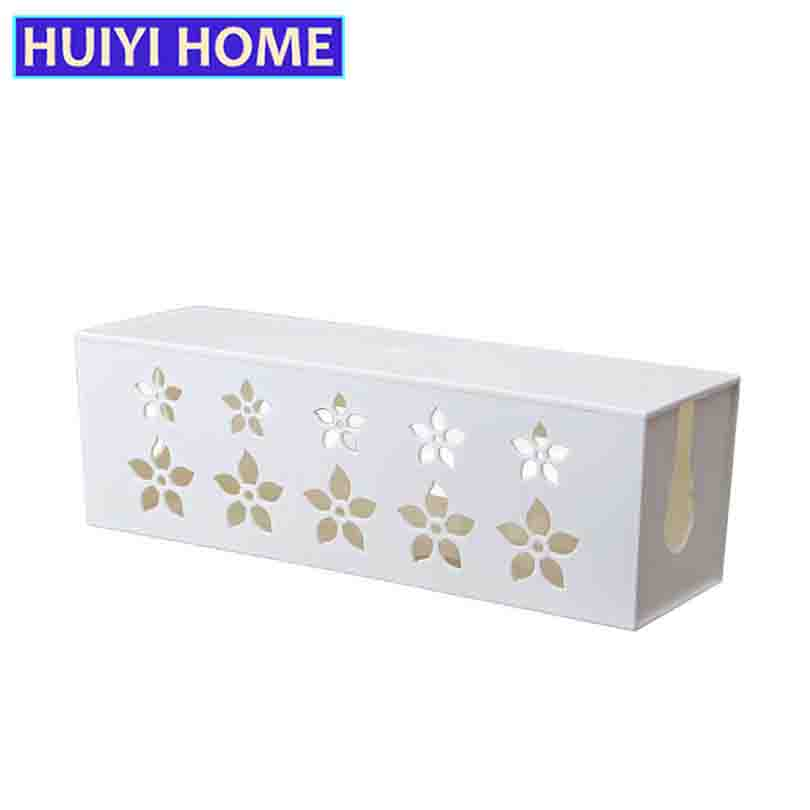 Huiyi Home Socket Storage Boxes 2 Colors Plastic Hollow Flower Pattern Outlet Power Wire Container Organizer EGL302