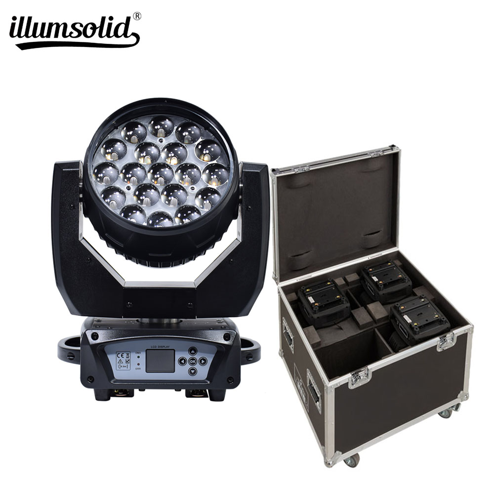 Zoom 19x15w Moving Head Light Have Flight Cases 4in1 For Stage, Disco,dj,ktv