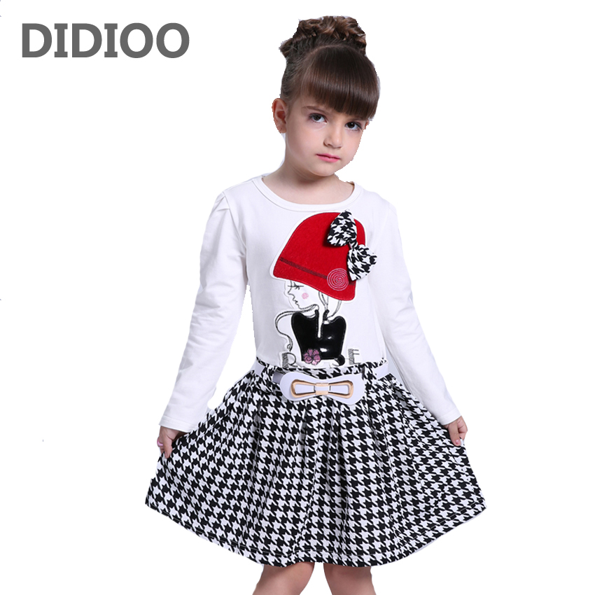2017 Autumn Girls Dresses 3 4 5 6 7 8 9 10 Years Long Sleeve Plaid Dress For Girl Clothes Cotton Pattern Baby Children Clothing children s spring and autumn girls bow plaid child children s cotton long sleeved dress baby girl clothes 2 3 4 5 6 7 years