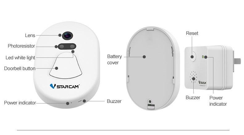 VStarcam D1 Door Camera, Outdoor camera+ Indoor camera,WIFi camera +RF2.4G, Photo Doorbell,support IOS and Android phone видеоглазок vstarcam d1