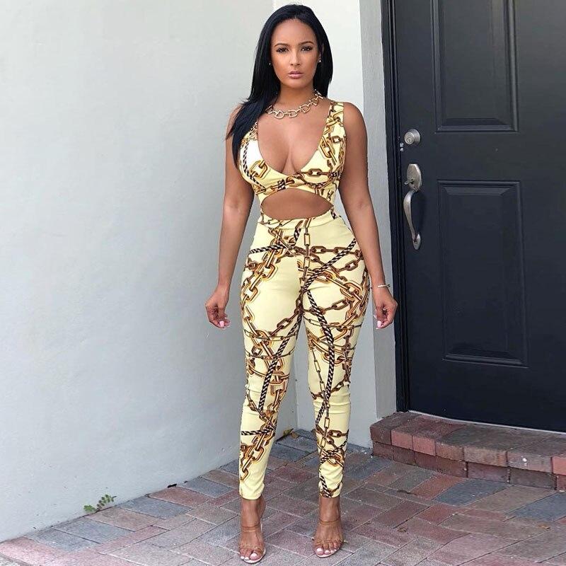 Fashion Tracksuit Women Two Piece Set 2018 Summer Chain Print Crop top+ Long Pants Set Sweat Suits for Women Two Piece Set