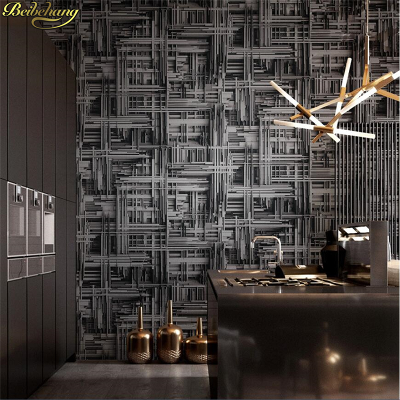 beibehang Wall paper Geometric Abstract Heavy Metal Wallpaper 3d Personality Bar Coffee Shop Restaurant Punk papel de parede