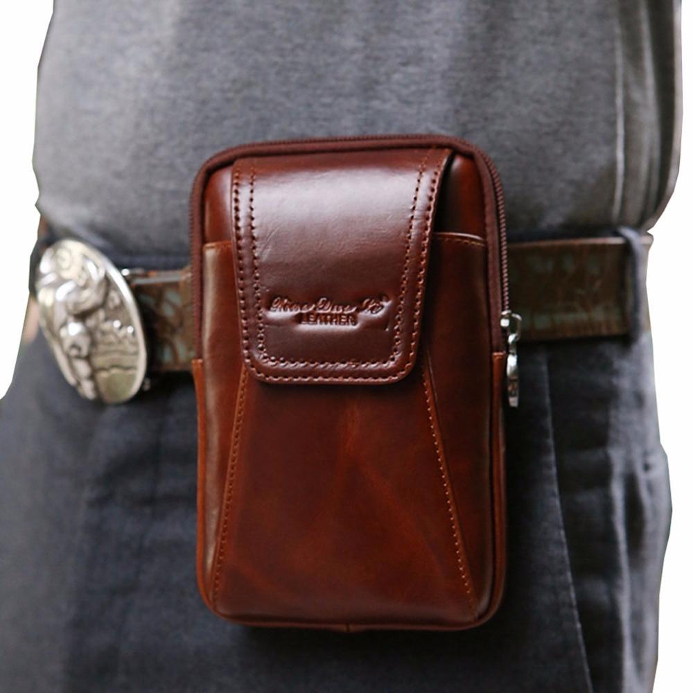 New Men Oil Wax Äkta Läder Vintage Travel Cell Mobiltelefon Case - Bälten väskor - Foto 2