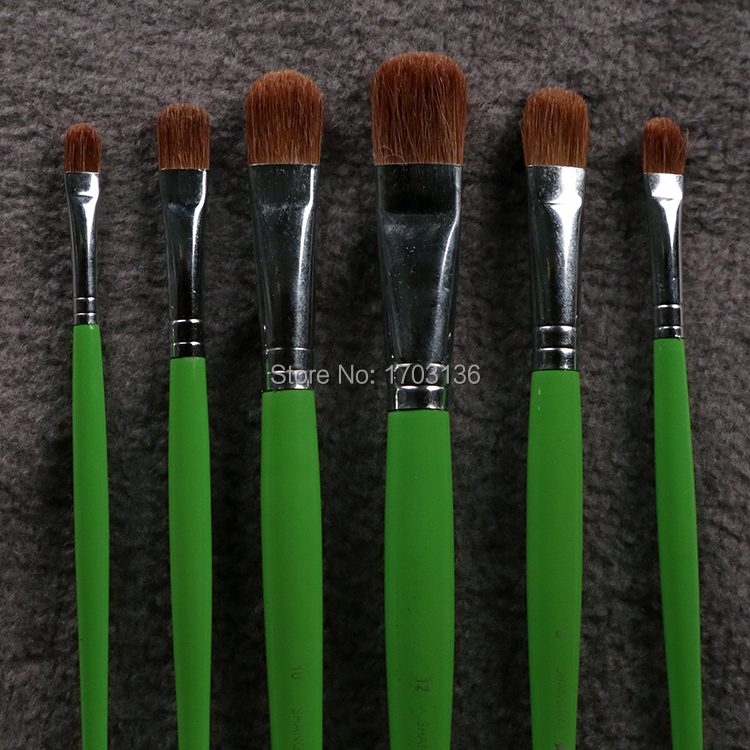 6Pcs/Set Bijiasuo Brand Paint Brush Weasel Hair Arc Tip Thick Hair For Gouache Oil Painting Acrylic Painting Brushes For Artist 6pcs set qishuixuan top quality nylon hair flat tip paint brush hard hair gouache oil acrylic brushes artist supplies painting