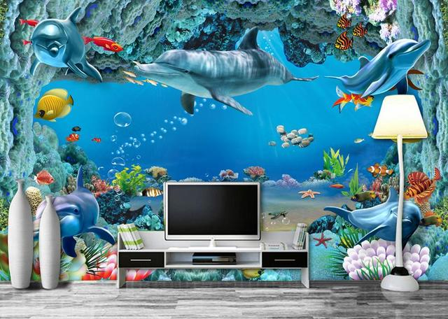 modern wall mural customized papel de parede do desktop Seabed fish
