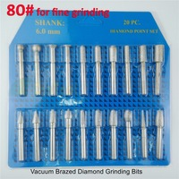 20pcs Set 80 For Fine Grinding Brazed Diamond Burrs For Stone Diamond Grinding Head Engraving Bits