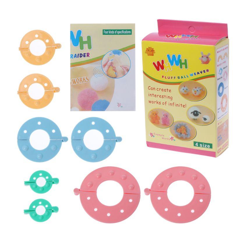 8 Pack Pompom Furry Ball Maker 4 Sizes For Fluff Ball Weaver Knitting DIY Tool