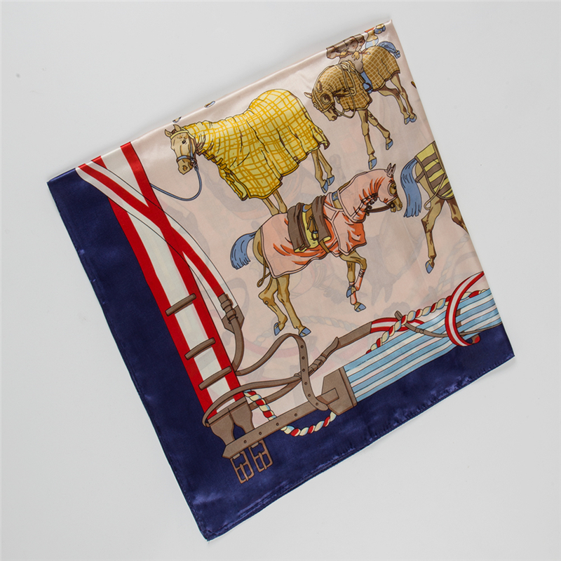Spring and autumn wild French court war horse Ms silk scarf  foulard femme soie de marque de luxe Beach Towel Shawl Bandana(China)