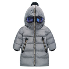 2016 Newest Children Ultraman Long Down Jacket Winter Outerwear Coats Spider Man Duck Down Coat With