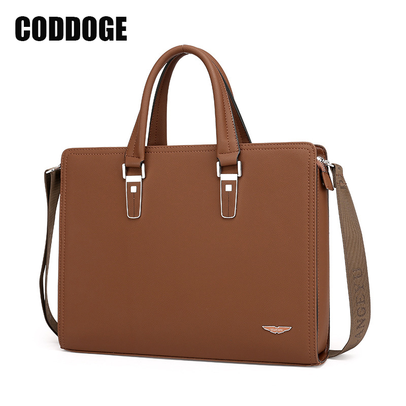 Shop2946211 Store CODDOGE Men's PU Leather Briefcase Famous Brand Business Quality Leather Men Messenger Bag Casual Handbags Top handle Bags