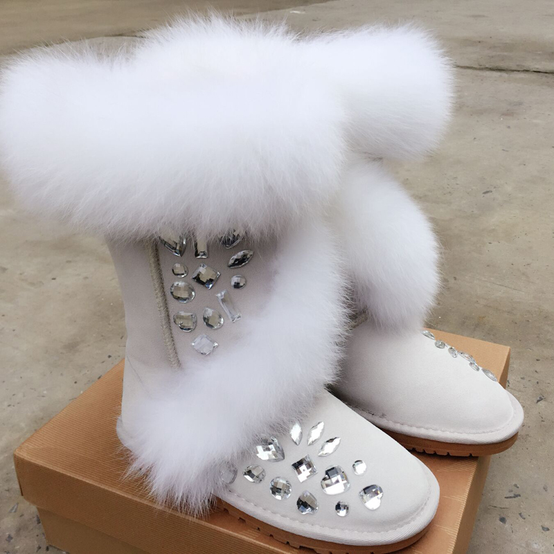 Main white Femme pink Luxe Anti Chaud Botas Casual Hiver Mujer Appartements Bottes Bijou Neige Chaussures De ski Black Fée Invierno Strass Fourrure Bling 8xwqqB51
