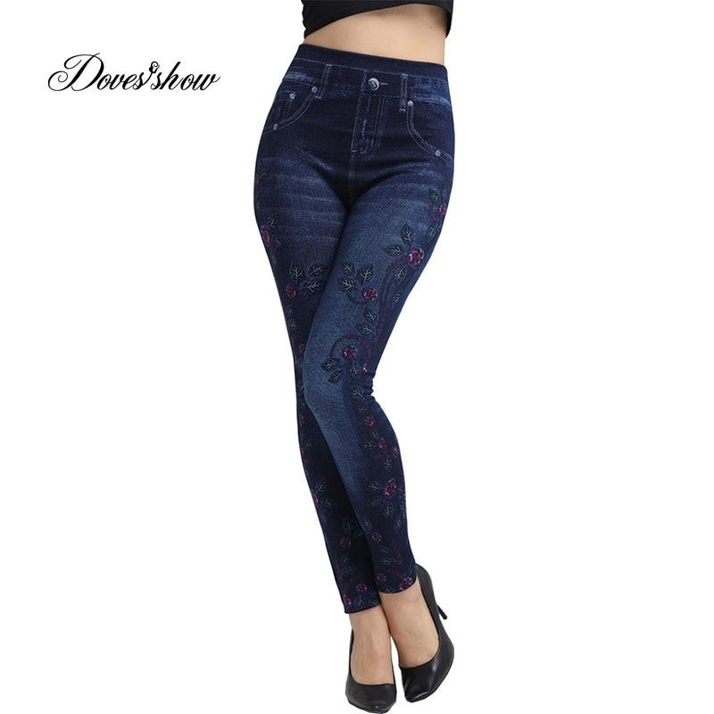Slim Women Seamless   Leggings   Faux Denim Jeans Summer Thin Fleece Side Floral Printing   Leggings   Casual Ankle Length Pencil Pants