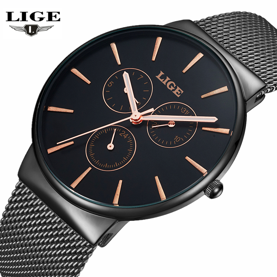 Fashion simple stylish Top Luxury brand LIGE Watches men Stainless Steel Mesh strap band Quartz-watch thin Dial Clock man 2016 new arrival longbo 5072 fashion women men quartz watch stainless steel mesh band simple wrist wacthes for lover luxury top brand