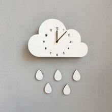 Скандинавский стиль детские часы деревянные часы в виде облака настенные подвесные украшения скандинавский стиль Настенный декор в скандинавском стиле Декор детской комнаты