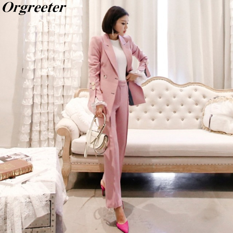 Women Outfits 2019 Spring Fall New Business Pant Suits Double Breasted Pink Blazer Jacket and Pant