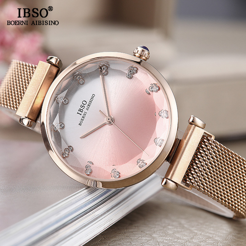 IBSO Creative Women Watches Rose Gold Ladies Wrist Watch Magnet Buckle Reloj Mujer 2019 Luxury Quartz Watch Gift For Women #8690