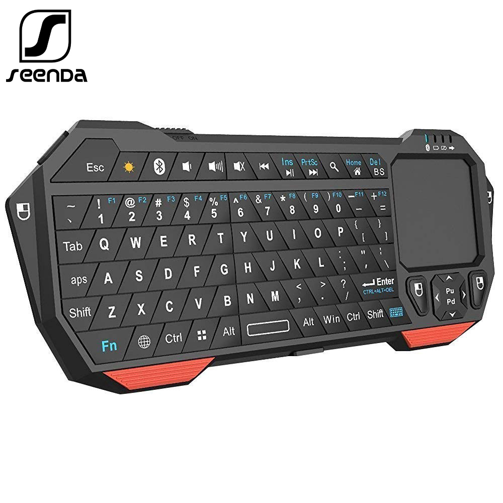 SeenDa Mini Bluetooth Keyboard with Touchpad for Smart TV Projector Compatible with Android iOS Windows image
