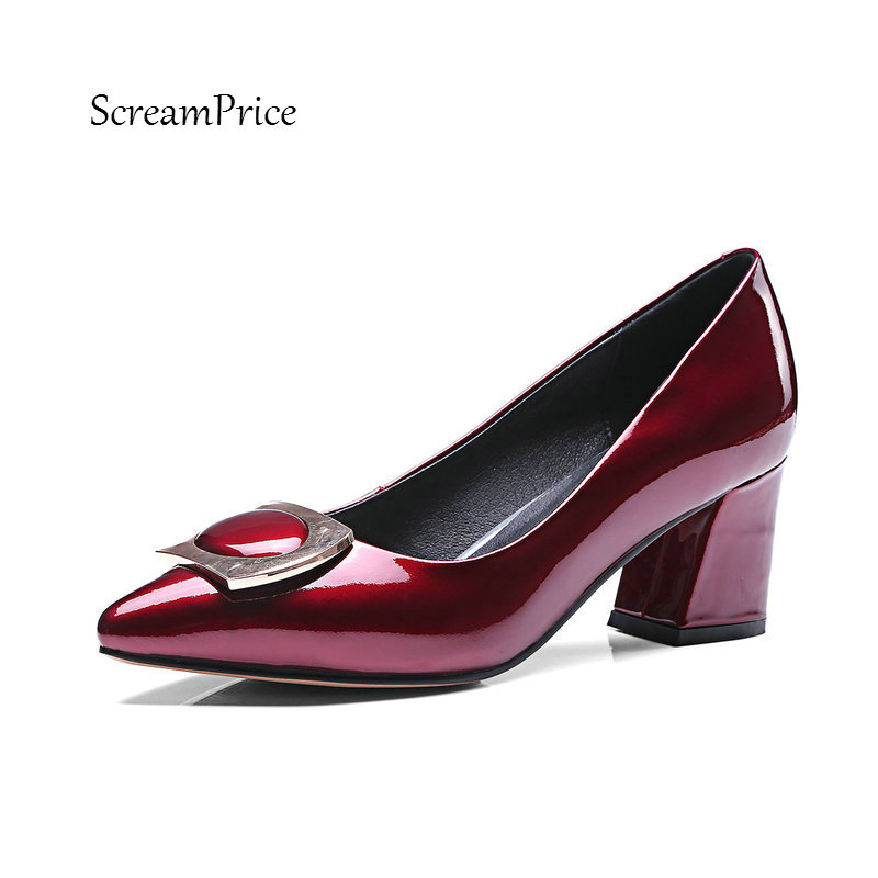 Women Genuine Leather Comfortable Square Heel Shoes Fashion Pointed Toe Dress Party Ladies Pumps Wine Red pointed toe women low heel work shoes girls sweet strappy dress shoes ladies heel shoes femal comfortable wedding shoes h264
