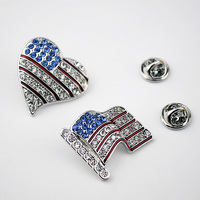 American flag sign broochs Fashion rhinestone Charm Costume Brooch Pins Jewelry woman/man brooches wholesale badge for girl gift