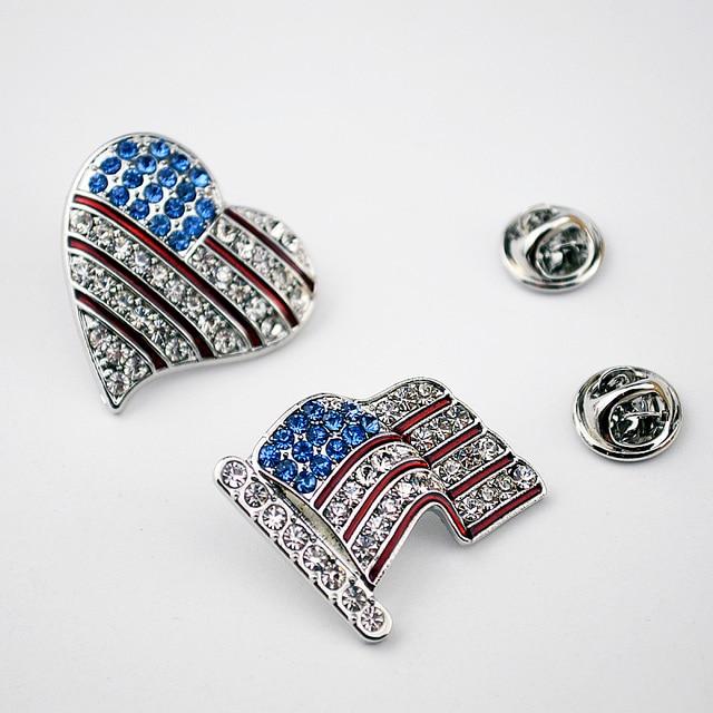 American flag sign broochs Fashion rhinestone Charm Costume Brooch Pins  Jewelry woman man brooches wholesale dc2484a8769e