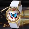 2016 Luxury Brand Women Dress Watch Fashion Butterfly Style Leather Band Analog Quartz Alloy Wristwatch Watches Relogio Feminino
