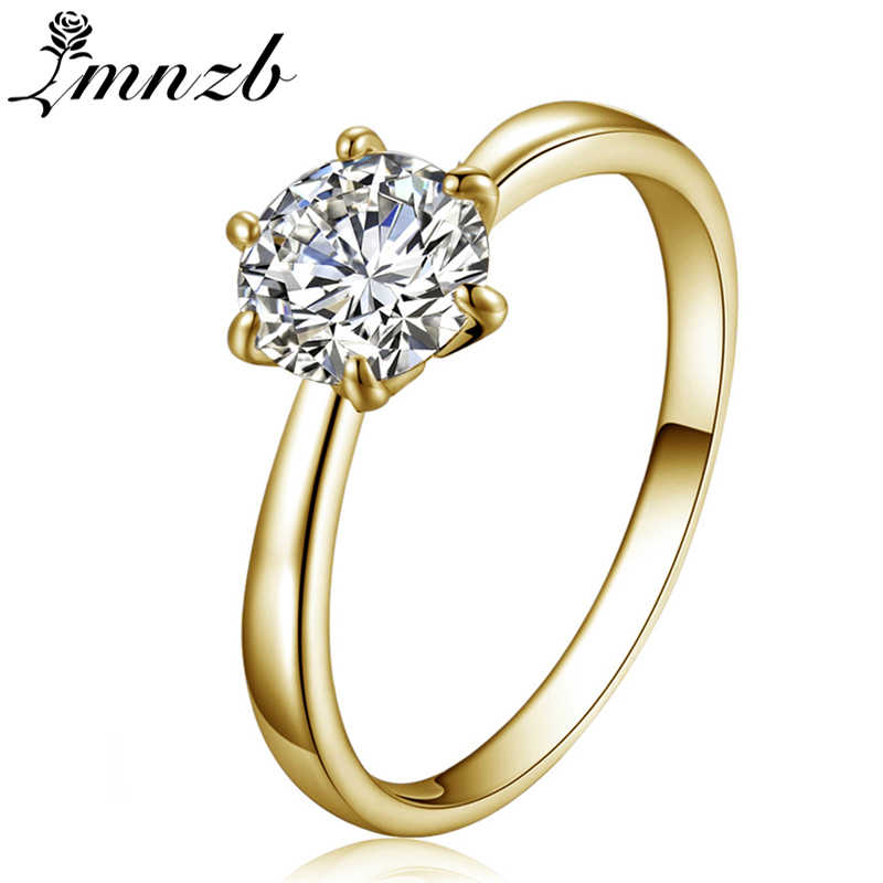 LMNZB Original Pure Gold Color Ring Solitaire 6mm 1 Carat CZ Zircon Wedding Rings for Women Full Ring Size 5 6 7 8 9 10 11 LR002