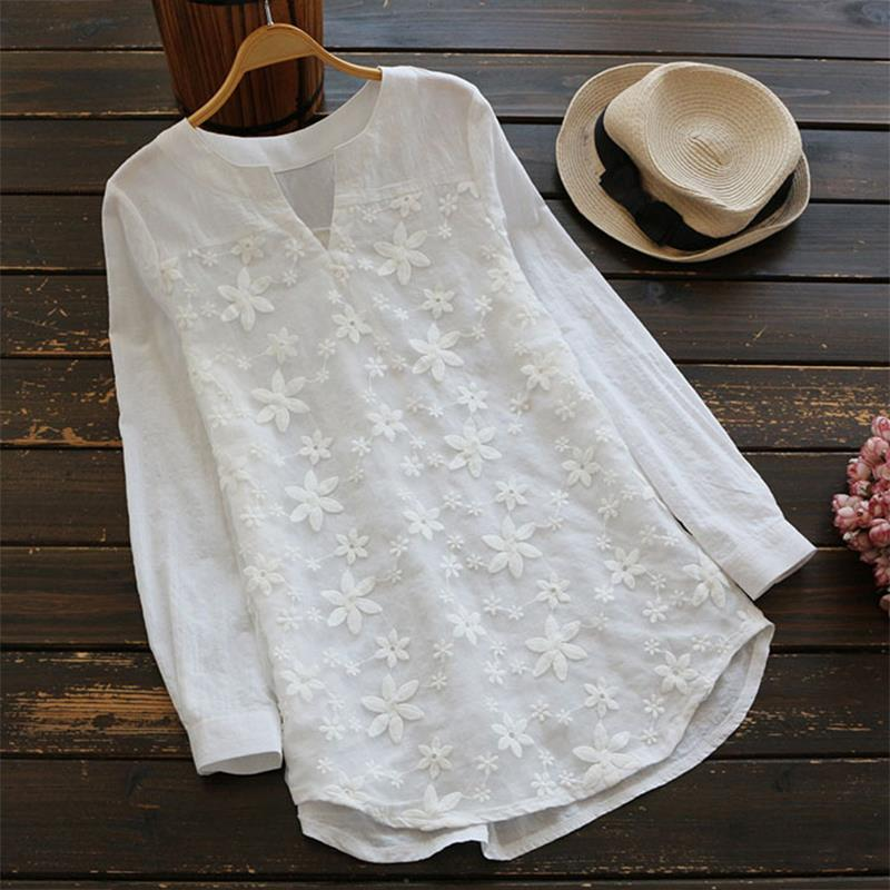 Women Blouse Shirt Casual V-Neck Top Sexy Long Sleeve White Blusas Ladies Autumn Elegant Blouses Plus Size 5XL SJ288X